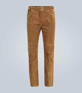 Saint Laurent Straight-leg suede pants
