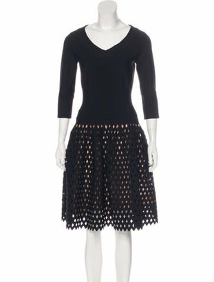 Alaia Fit and Flare Cocktail Dress Black