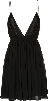 Saint Laurent Plunge Neckline Baby Doll Dress