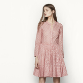 Maje Printed dress with lace-style openwork