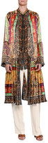 Etro Pleated Patchwork-Print Silk Coat, Brown