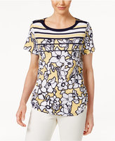 Alfred Dunner Petite Seas The Day Striped Floral Top