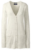 Lands' End Women's Petite Merino V-neck Cardigan Sweater-Light Cream Heather