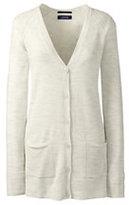 Lands' End Women's Plus Size Merino V-neck Cardigan Sweater-Light Cream Heather