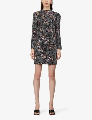Maje Ripitane sequin-embellished woven mini wrap dress