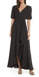Fame & Partners V-Neck Georgette Wrap Gown