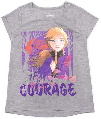 Children's Apparel Network Girls' Tee Shirts GREY - Frozen 2 Gray 'Courage' Hi-Low Short-Sleeve Tee - Toddler & Girls