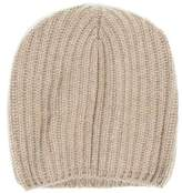 Drakes Drake's Cashmere Ribbed Beanie in Camel