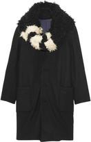 Y-3 Faux shearling-trimmed wool coat
