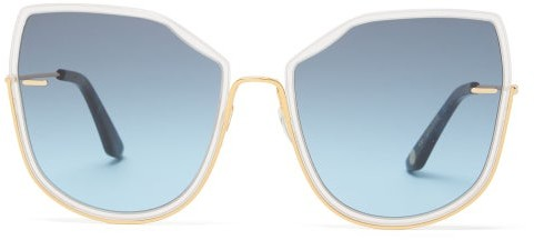 Atelier Moy Nobody's Darling Cat Eye Gold Plated Sunglasses - Womens - Gold