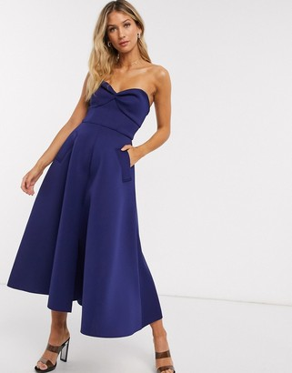 ASOS DESIGN sweetheart bandeau midi skater prom dress with pockets in navy