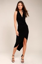 Lush Open and Onyx Black Wrap Midi Dress
