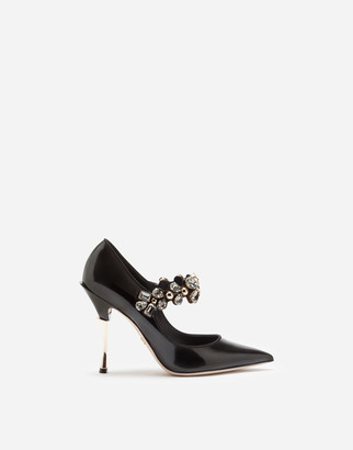 Dolce & Gabbana Patent Leather Mary Janes With Bejeweled Strap