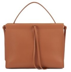 HUGO BOSS Tote Bag In Italian Leather With Tassel Detail - Light Brown