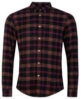 Portuguese Flannel Compact Shirt Colour: Black Orange Burgundy, Size: