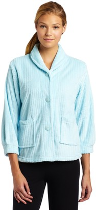 Casual Moments Womens Bed Jacket with Shawl Collar Light Aqua Large