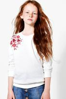 boohoo Girls Embroidered Sweat Top cream