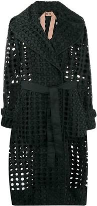 No.21 Perforated-Design Midi Coat