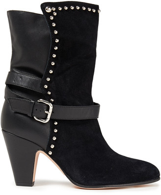 Red(V) Buckled Studded Suede And Leather Ankle Boots