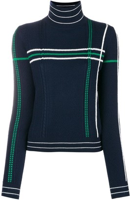 Carven Striped High Neck Knit Sweater