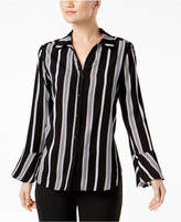 NY Collection Printed Bell-Sleeve Blouse