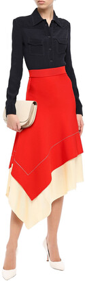Victoria Beckham Asymmetric Two-tone Knitted Skirt