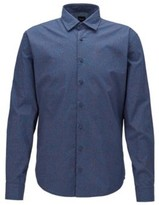 BOSS Slim-fit shirt in micro-patterned cotton