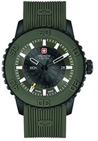 Swiss Military Men's Quartz Watch with Grey Dial Analogue Display and Olive Green Silicone Strap 6-4281.27.006
