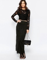 Warehouse Placed Lace Maxi Skirt