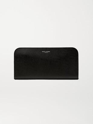 Saint Laurent Pebble-Grain Leather Zip-Around Wallet