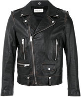 Saint Laurent biker jacket - men - Cotton/Leather/Polyester/Cupro - 44
