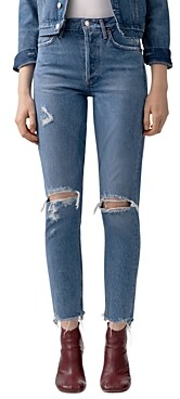 AGOLDE Jamie High-Rise Distressed Skinny Jeans in Arrival
