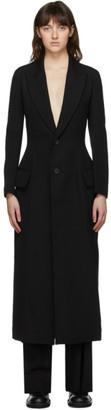 Yohji Yamamoto Black Lace-Up Long Coat