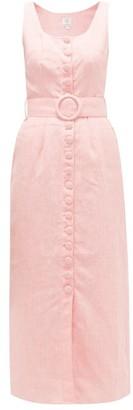 Gül Hürgel Belted Buttoned Linen Midi Dress - Womens - Pink