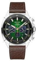 Seiko Recraft Series Stainless Steel and Leather Strap Solar Chronograph Watch