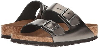 Birkenstock Arizona Soft Footbed (Metallic Anthracite Leather) Women's Sandals