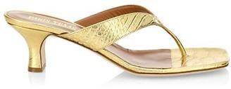Paris Texas Metallic Croc-Embossed Leather Thong Sandals