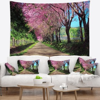 Design Art Designart 'Cherry Blossom Pathway in Chiang Mai' Landscape Wall Tapestry