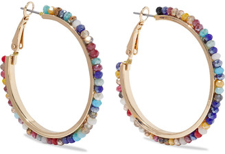 Kenneth Jay Lane 22-karat Gold-plated Beaded Hoop Earrings