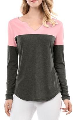 Unique Bargains Women's Split V Neck Color Block Long Sleeve T-Shirt
