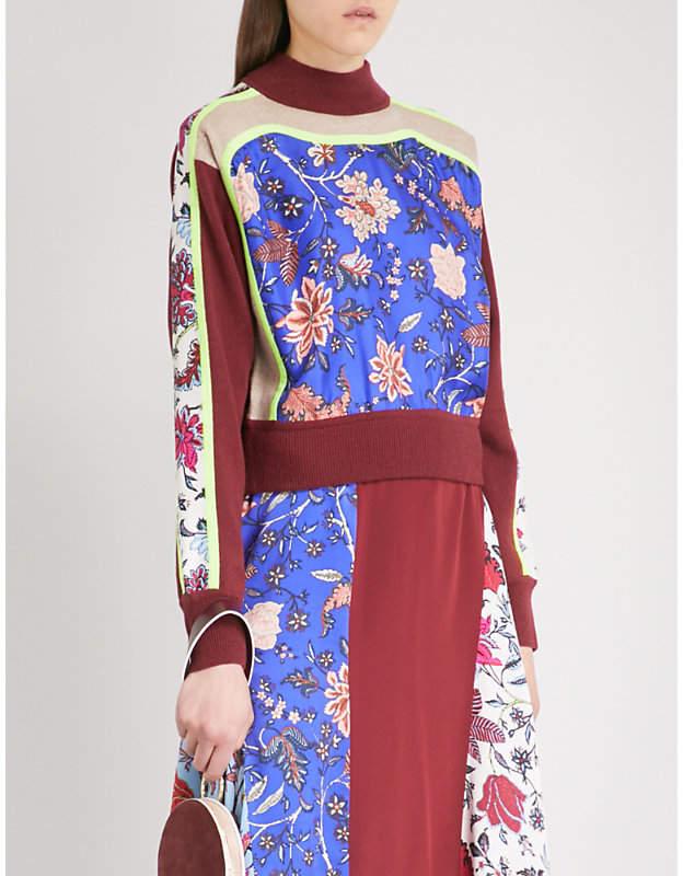 Diane von Furstenberg Patchwork canton-print wool and silk-blend jumper