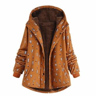 KaloryWee Sale Womens Winter Warm Outwear Cat Print Hooded Pockets Vintage Oversize Hasp Coats Orange