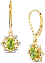 Zales Oval Peridot and Diamond Accent Scallop Frame Drop Earrings in Sterling Silver with 14K Gold Plate