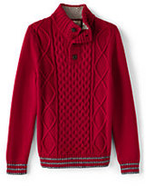 Classic Boys Husky Aran Cable Button Mock Neck Sweater-Rich Red