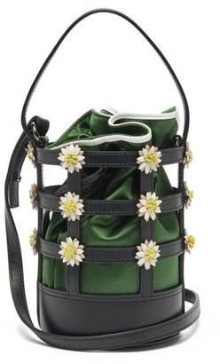 Fabrizio Viti Miss Daisy Leather And Satin Bucket Bag - Green Multi