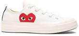 Comme des Garcons Converse Large Emblem Low Top Canvas Sneakers in White.