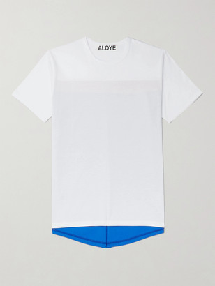 Aloye Colour-Block Panelled Cotton-Jersey T-Shirt