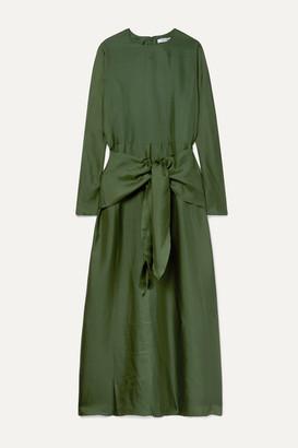 Deitas Artemis Knotted Silk-twill Maxi Dress - Forest green