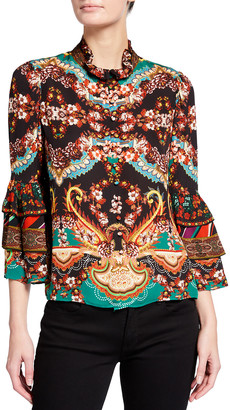 Alice + Olivia Liberty Button-Front Tiered Ruffle Blouse