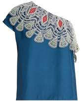Peter Pilotto One-shoulder embroidered-lace crepe top
